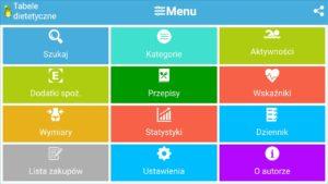 Tabele dietetyczne, aplikacja mobilna